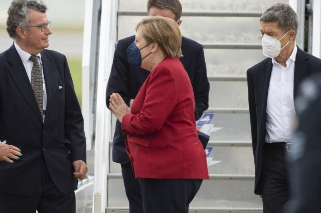 Chancellor of Germany Angela Merkel, pictured here arriving in Cornwall to take part in the G7 Summit, will travel to the White House to meet with President Joe Biden on July 15. Photo by Doug Peters/G7 Cornwall 2021/UPI