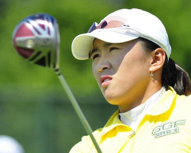 Amy Yang, shown in a 2010 file photo, jumps nine places to 18th in the world women's golf rankings after winning the LPGA KEB-HanaBank Championship. UPI/Archie Carpenter