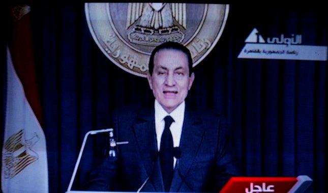 Deposed Egyptian President Hosni Mubarak is reported in critical condition following a heart attack and stroke. 2011 file photo. UPI/Ismael Mohamad