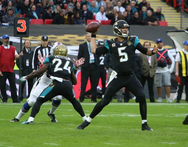 Jacksonville Jaguars quarterback Blake Bortles throws the football in the fourth quarter of the International NFL series match against the Buffalo Bills at Wembley, London, on Oct. 25, 2015. Jacksonville won the match 34-31. Photo by Hugo Philpott/UPI.
