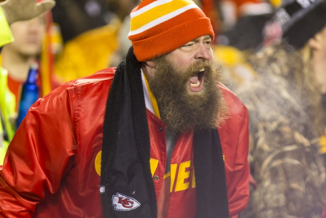 A Kansas City Chiefs fan yells as the Pittsburgh Steelers offense takes the field in the fourth quarter of the NFL Playoff at Arrowhead Stadium in Kansas City on January 15, 2017. Photo by Kyle Rivas/UPI