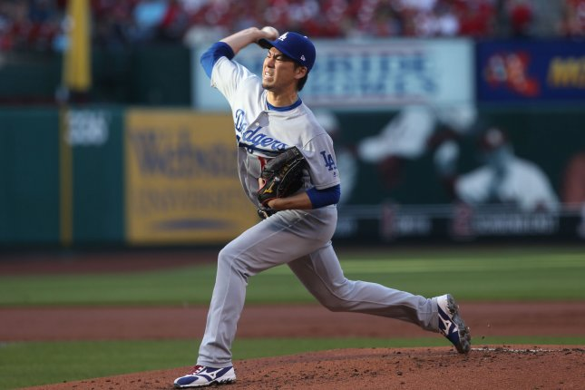 Los Angeles Dodgers starting pitcher Kenta Maeda delivers a pitch. File photo by Bill Greenblatt/UPI