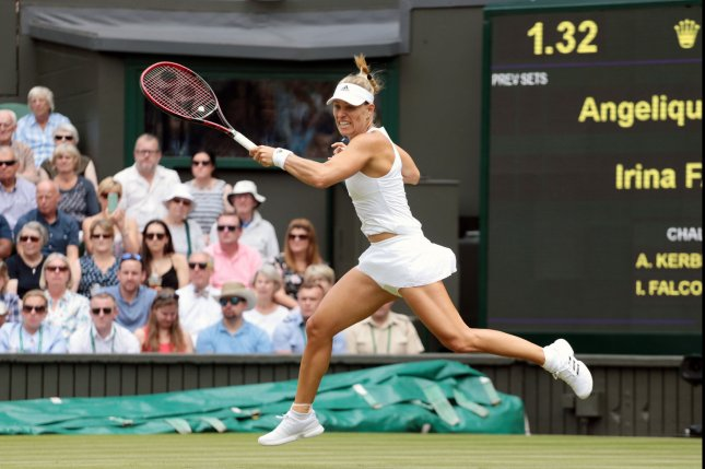 Angelique Kerber plays a forehand during the 2017 Wimbledon championships in London. Photo by Hugo Philpott/UPI