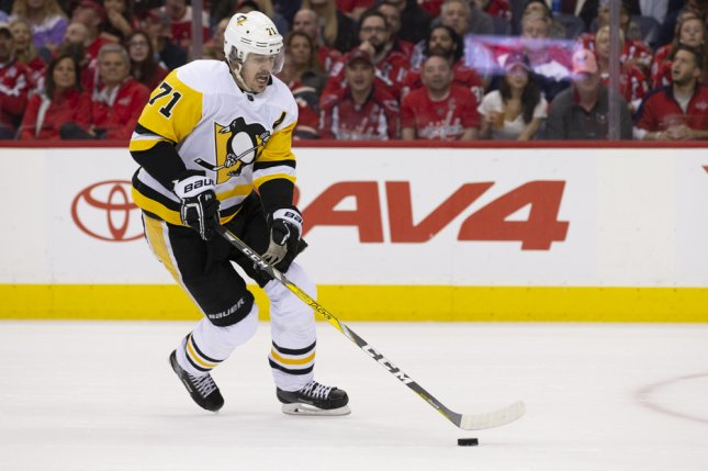 Pittsburgh Penguins center Evgeni Malkin (71) missed Friday's contest against the Ottawa Senators with an upper-body injury. File photo by Alex Edelman/UPI
