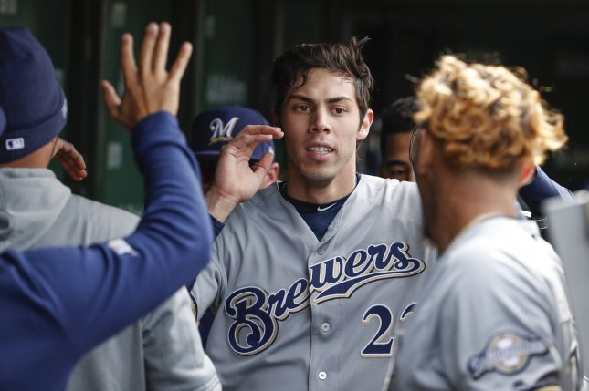 Milwaukee Brewers outfielder Christian Yelich is hitting .330 in his second season with the Brewers. File Photo by Kamil Krzaczynski/UPI
