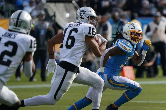 Former Las Vegas Raiders receiver Tyrell Williams (16) missed the entire 2020 season because of a torn shoulder labrum. File Photo by Jon SooHoo/UPI