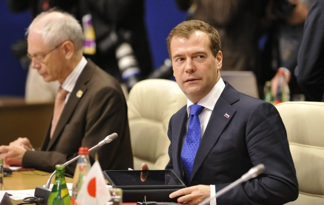 Russian President Dmitry Medvedev attends a round table meeting at the G8 Summit in Deauville, France, May 26, 2011. UPI