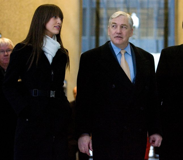 Former Media Mogul Conrad Black (R) leaves federal court with his daughter Alana after being sentenced to 78 months in prison on December 10, 2007, in Chicago. Black was convicted in July of three counts of mail fraud and obstruction of justice for his role in a scheme which bilked shareholders out of millions of dollars. (UPI Photo/Brian Kersey)