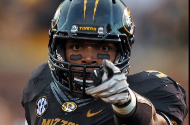St. Louis Rams' draft pick Michael Sam as a member of the Missouri Tigers. UPI/Bill Greenblatt