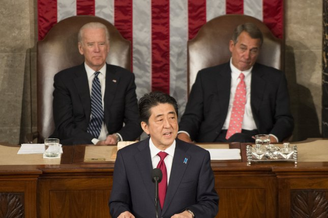 Japanese Prime Minister Shinzo Abe speaking to a joint session of the U.S. Congress in April. Abe's push for the Trans-Pacific Partnership in Japan is meeting strong opposition. Photo by Pat Benic/UPI