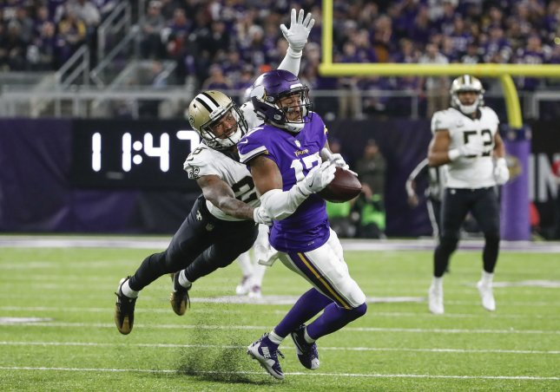 Minnesota Vikings receiver Jarius Wright tries tries to break free from New Orleans Saints cornerback P.J. Williams during the NFC playoffs in January. Photo by Kamil Krzaczynski/UPI