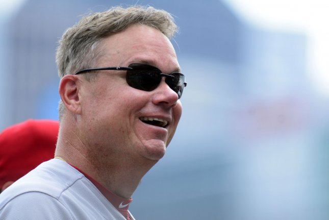 St. Louis Cardinals interim manager Mike Shildt (8) smiles at the fans before the start of the game against the Pittsburgh Pirates on August 5, 2018 at PNC Park in Pittsburgh. Photo by Archie Carpenter/UPI