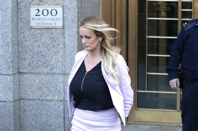 Stormy Daniels was ordered to pay more than $293,000 in legal fees in a defamation lawsuit she filed against President Donald Trump. File Photo by John Angelillo/UPI