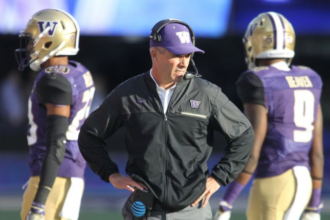 Washington Huskies head football coach Chris Petersen (pictured) will step down from his role after the team's bowl game. He will be replaced by defensive coordinator Jimmy Lake. File Photo by Jim Bryant/UPI