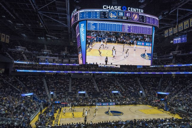 The Golden State Warriors will play in an empty arena when they take on the Brooklyn Nets at 10:30 p.m. EDT Thursday at Chase Center in San Francisco. File Photo by Terry Schmitt/UPI