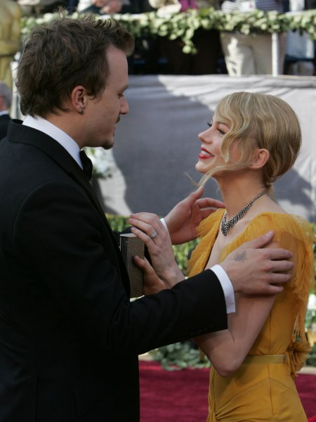 Actors Heath Ledger and Michelle Williams .arrives for the 78th Annual Academy Awards at the Kodak Theatre in Hollywood, Ca., on March 5, 2006. (UPI Photo/Terry Schmitt)