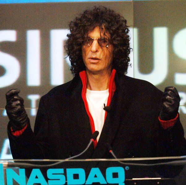 Radio talk show host Howard Stern delivers remarks during the ringing of the ceremonial open trade bell for NASDAQ on January 3, 2006. Stern begins his radio show on Sirius on January 9th, 2006. (UPI Photo/Ezio Petersen)