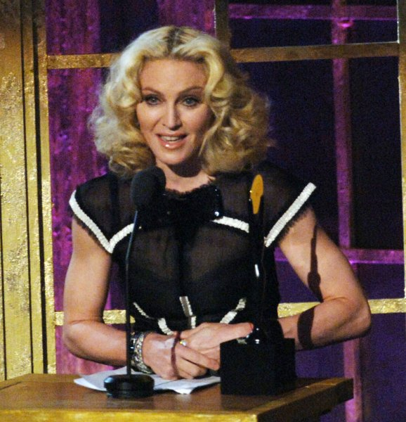 Madonna delivers her acceptance speech after being inducted into the 2008 Rock and Roll Hall of Fame during ceremonies held at the Waldorf Astoria hotel in New York on March 10, 2008. (UPI Photo/Ezio Petersen)