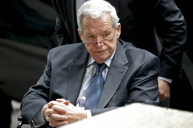 Former U.S. House Speaker Dennis Hastert leaves federal court after his sentencing hearing in Chicago on April 27. Hastert, imprisoned to 15 months on charges of fraud and lying to federal agents, is looking to get $1.7 million back from one of his sexual abuse accusers who filed a lawsuit seeking Hastert pay $1.8 million in promised hush-money. File Photo by Kamil Krzaczynski/UPI