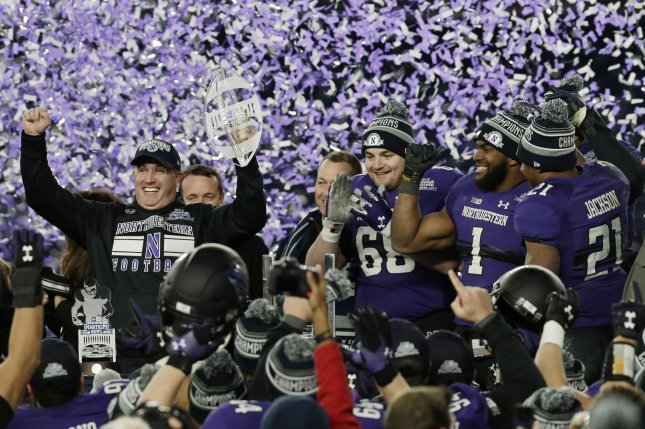 Northwestern extended the contract of football coach Pat Fitzgerald through 2026. File photo by John Angelillo/UPI