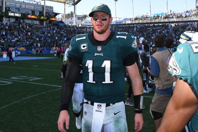Philadelphia Eagles quarterback Carson Wentz walks off the field after his team defeated the Los Angeles Chargers 26-24 at StubHub Center in Carson, California on October 1, 2017. File photo by Jon SooHoo/UPI