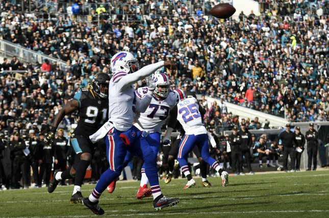 Buffalo Bills quarterback Tyrod Taylor passes against the Jacksonville Jaguars in the first quarter of the NFL Wild Card game at EverBank Field on January 7, 2018 in Jacksonville, Florida. The Jaguars defeated the Bills 10-7. Photo by Joe Marino/Bill Cantrell/UPI