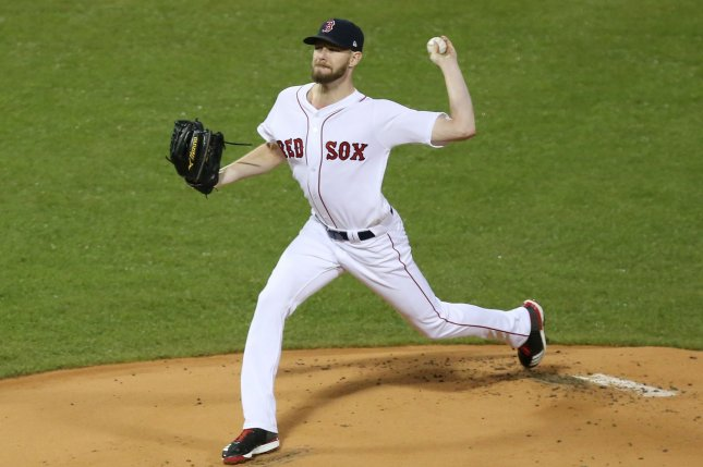 Boston Red Sox starting pitcher Chris Sale was dominant in his start against the Colorado Rockies, but his bullpen couldn't hold the lead for a victory Tuesday at Fenway Park in Boston. File Photo by Matthew Healey/UPI
