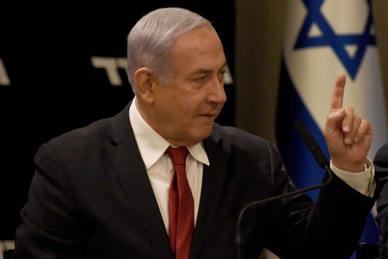 Israeli Prime Minister Benjamin Netanyahu speaks Wednesday at the start of a Likud Party meeting in Jerusalem. Photo by Debbie Hill/UPI