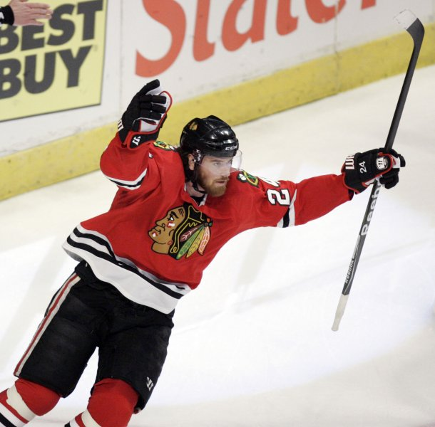 Martin Havlat, then with the Chicago Blackhawks at the United Center in Chicago, May 22, 2009. (UPI Photo/Mark Cowan)