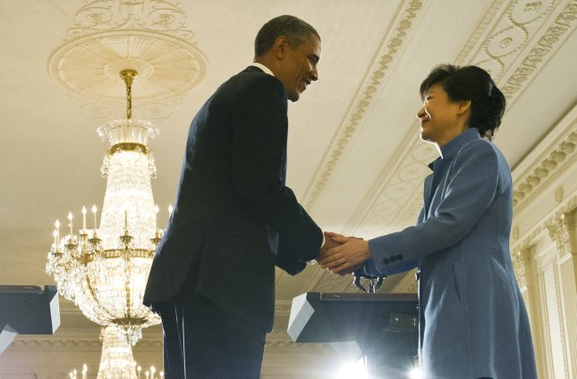U.S. President Barack Obama shakes hands with President Park Geun-hye of the Republic of Korea following a joint press conference in the East Room at the White House on May 7, 2013 in Washington, D.C. UPI/Kevin Dietsch