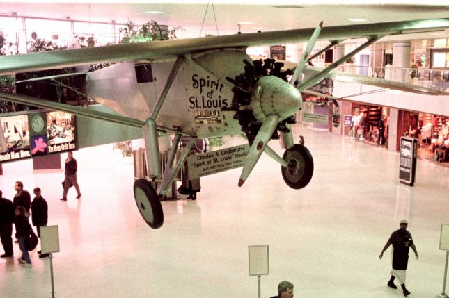 Charles Lindbergh took off on the first solo non-stop trans-Atlantic flight in the Spirit of St. Louis May 20, 1927. A replica of the plane, pictured at Lambert-St. Louis International Airport Jan. 15, 1998, was later moved to the Missouri History Museum. File Photo by Bill Greenblatt/UPI