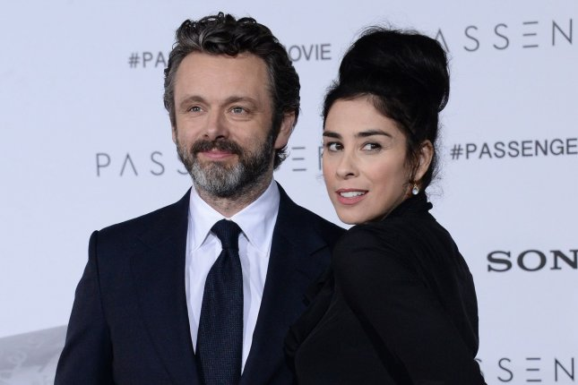 Sarah Silverman (R) and Michael Sheen attend the Los Angeles premiere of Passengers on December 14, 2016. File Photo by Jim Ruymen/UPI