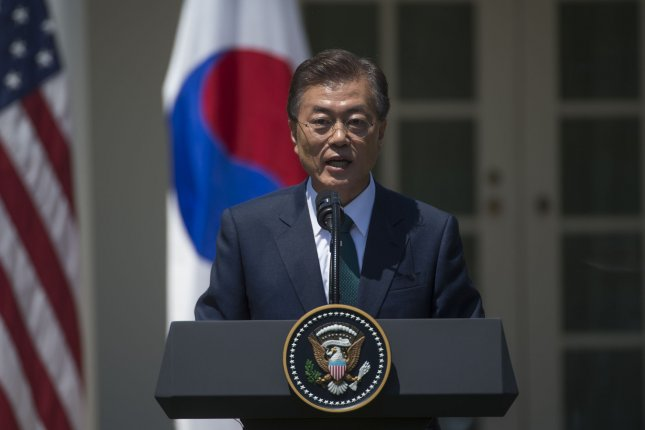 President of South Korea Moon Jae-in will meet with U.S. military leaders on Monday, August 14, to discuss the escalating tensions between North Korea and the United States. Photo by Molly Riley/UPI