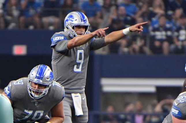 Detroit Lions quaterback Matthew Stafford calls a play against the Dallas Cowboys on September 30, 2018 at AT&T Stadium in Arlington, Texas. Photo by Ian Halperin/UPI
