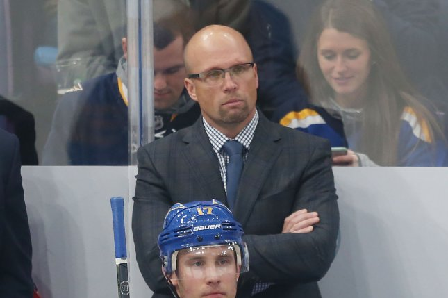 St. Louis Blues head coach Mike Yeo watches his team take on the Minnesota Wild during the second period on November 3 at the Enterprise Center in St. Louis. Photo by Bill Greenblatt/UPI
