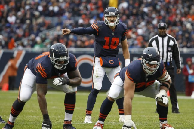 Chicago Bears quarterback Mitchell Trubisky (10) directs his team against the New York Jets during the second half on October 28, 2018 at Soldier Field in Chicago. Photo by Kamil Krzaczynski/UPI