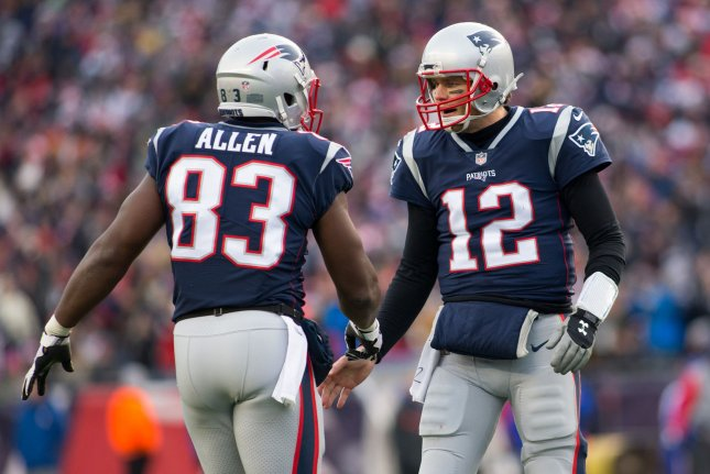 Former New England Patriots tight end Dwayne Allen (83) had 13 receptions for 113 yards and a touchdown in 29 games with the franchise. File Photo by Matthew Healey/UPI