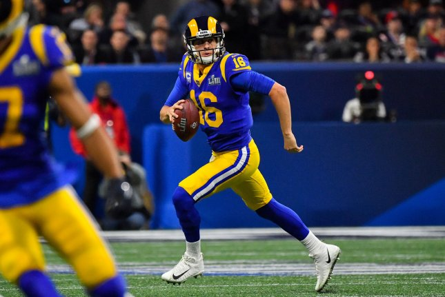 Los Angeles Rams quarterback Jared Goff agreed to a deal that will keep him with the franchise through the 2024 season. File Photo by Kevin Dietsch/UPI