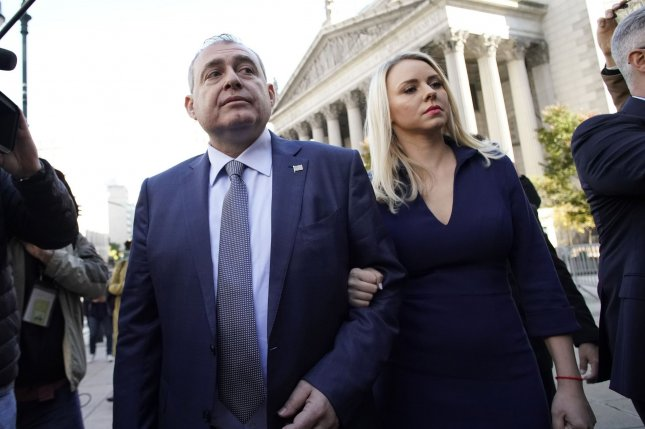 Lev Parnas arrives for arraignment in Manhattan federal court before U.S. District Court Judge Paul Oetken on Wednesday. Photo by John Angelillo/UPI