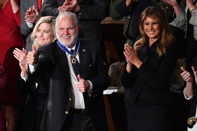 Conservative broadcaster Rush Limbaugh receives the Presidential Medal of Freedom from first lady Melania Trump during the State of the Union address at the U.S. Capitol in Washington, D.C., on February 4. File Photo by Kevin Dietsch/UPI