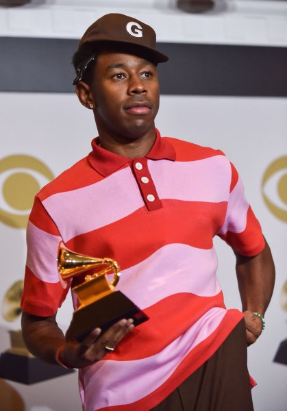 Tyler, the Creator appears backstage with his award for Best Rap Album for Igor, during the 62nd annual Grammy Awards held at Staples Center in Los Angeles on January 26, 2020. The rapper turns 30 on March 6. File Photo by Christine Chew/UPI