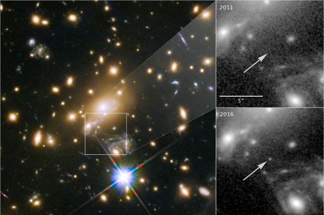 This image composite, released on April 2, 2018, shows the discovery of the most distant known star using the NASA/ESA Hubble Space Telescope. Photo by NASA/ESA/UPI