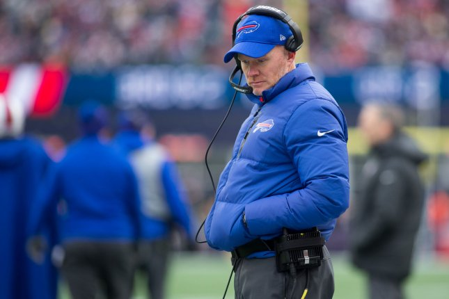Buffalo Bills head coach Sean McDermott walks the sideline during a break as they take on the New England Patriots on December 24 at Gillette Stadium in Foxborough, Mass. Photo by Matthew Healey/UPI