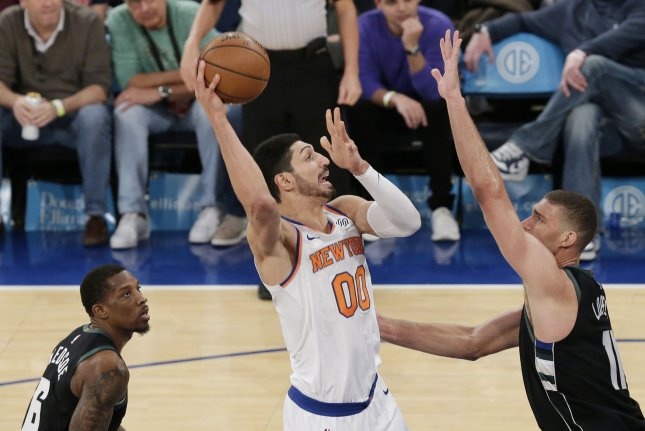 New York Knicks center Enes Kanter puts up a shot against the Milwaukee Bucks on December 1, 2018 at Madison Square Garden in New York City. Photo by John Angelillo/UPI