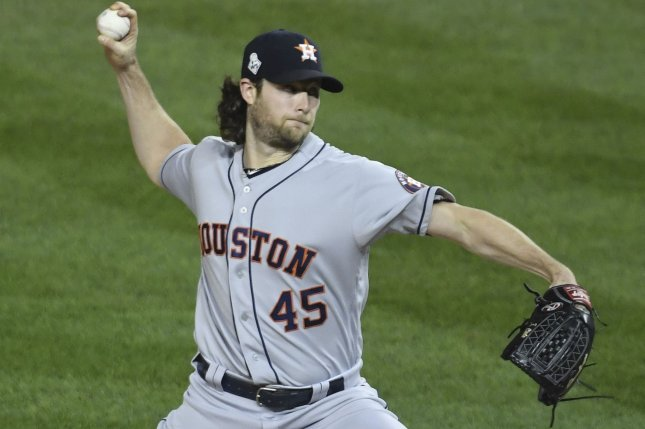 Houston Astros pitcher Gerrit Cole had a 3.86 ERA and a 1-1 record in two World Series appearances this postseason. Photo by Pat Benic/UPI