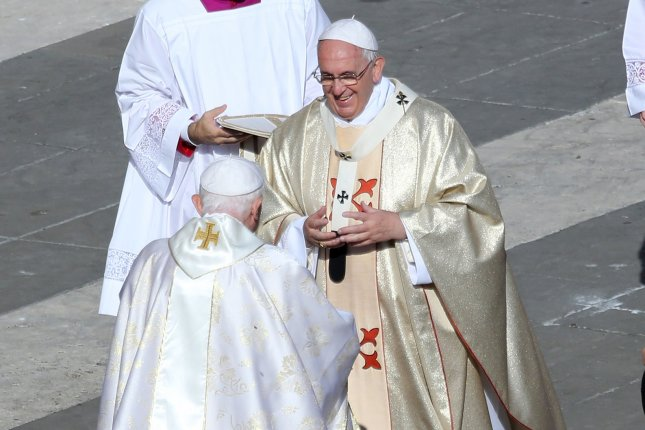 Pope Francis and Pope Emeritus Benedict received the first dose of the vaccine against COVID-19 on Wednesday, the Vatican said. File Photo by David Silpa/UPI