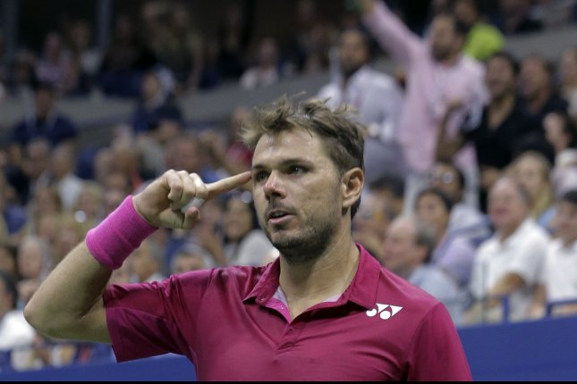 Stan Wawrinka, of Switzerland, reacts after he won a point in the third set from Novak Djokovic, of Serbia, during their men's championship match in Arthur Ashe Stadium at the 2016 US Open Tennis Championships at the USTA Billie Jean King National Tennis Center in New York City on September 11, 2016. Wawrinka won the championship 6-7, 6-4, 7-5, 6-3. Photo by Ray Stubblebine/UPI