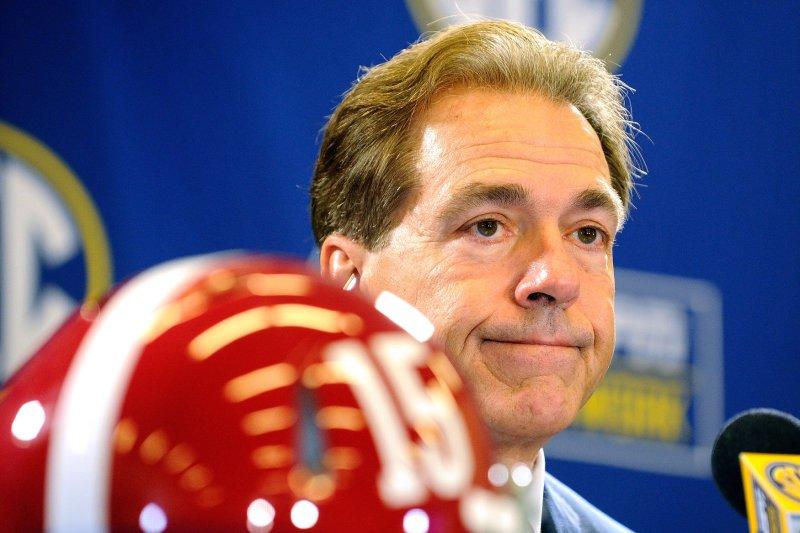 Alabama head football coach Nick Saban. File photo by David Tulis/UPI