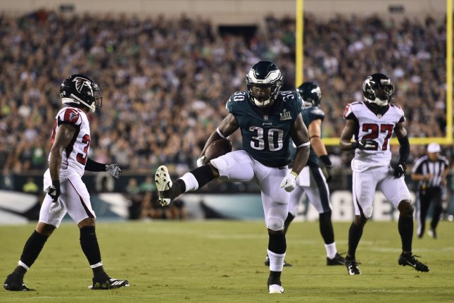 Philadelphia Eagles running back Corey Clement (30) reacts after a long run during the second half of an NFL football game against the Atlanta Falcons on September 7 at Lincoln Financial Field in Philadelphia. Photo by Derik Hamilton/UPI