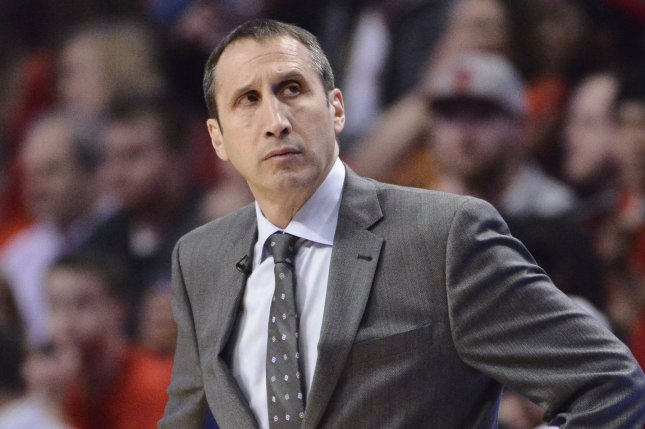 Former Cleveland Cavaliers coach David Blatt watches from the sidelines during a playoff game against the Chicago Bulls in 2015. Photo by Brian Kersey/UPI